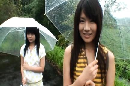 Chiwa Osaki and Anri Nonoka Asian teens having sex outdoors