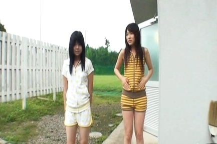 Chiwa Osaki and Anri Nonoka Asian teens enjoying  outdoors