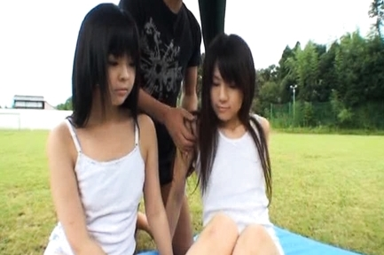Chiwa Osaki and Anri Nonoka Asian teens enjoying their time together outdoors