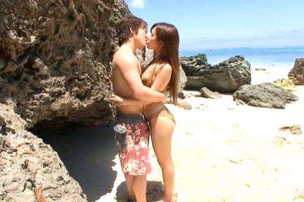 Rio Fujisaki Lovely Asian teen gives a hot blowjob on the beach