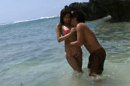 Akina Asian doll gets some sex on the beach