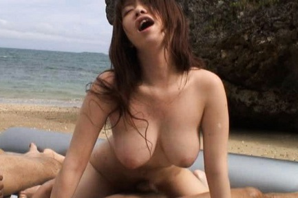 Asian model has sex on the beach
