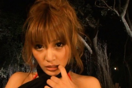 Perfect Asian babe Kirara Asuka makes a hot blowjob outdoors.