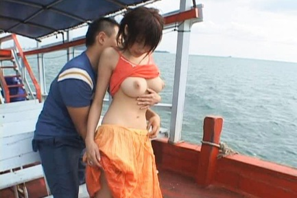 Busty and babety Asian getting het tits fondled and pussy penetrated