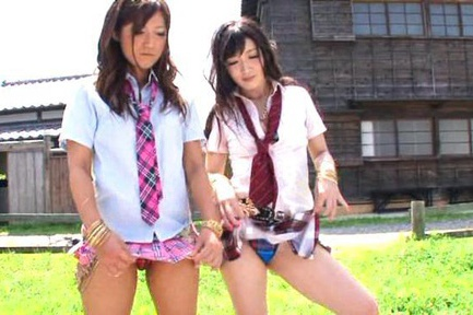Nice teen chick Hibiki Ohtsuki with friend in threesome