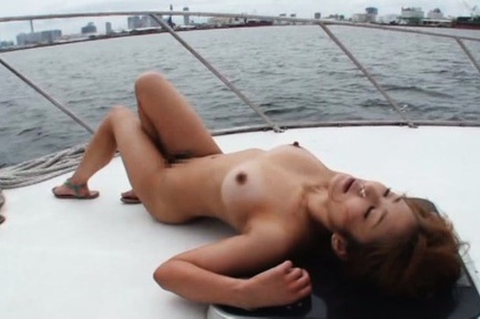 Sexy girl with nice ass Minori Hatsune is fucked on a boat