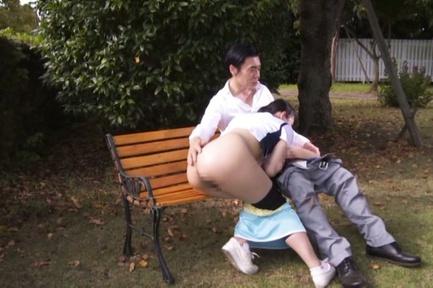 Japanese AV Model naughty teen banged hard in the park