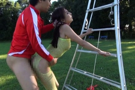 Gorgeous Asian mature sweetie in fishnet lingerie gets fucked outdoors