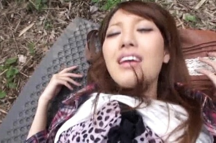 Beautiful busty Japanese redhead sucks and rides cock outdoors