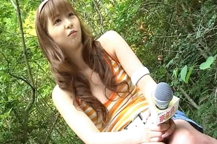 Nana Ootone Lovely Asian reporter is nude in the woods