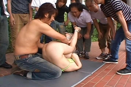 Rinoa Hinata Hot Asian babe gets an outdoor gangbang