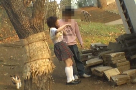 Naughty Asian schoolgirl has sex on the steps