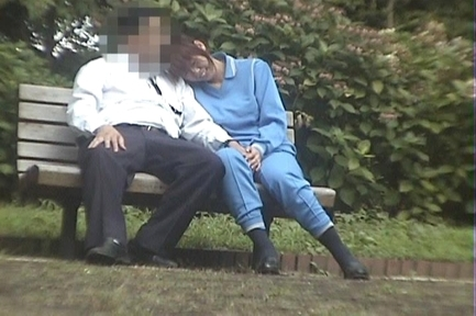Sex on a bench through a spy cam