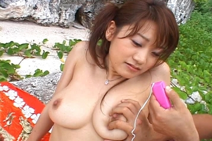 Karin Asian doll enjoys sex on the beach